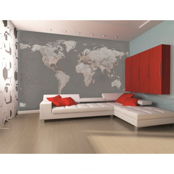 1 Wall Silver Map Globe Atlas Photo Giant Poster 3.15 x 2.32m