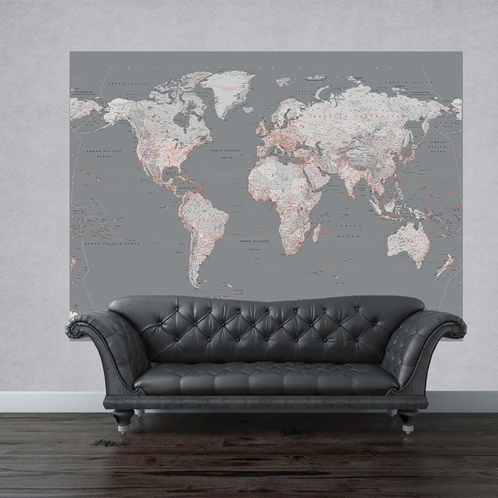 1 Wall Silver Map Mural World Globe Atlas Wall Art 232 x 158m