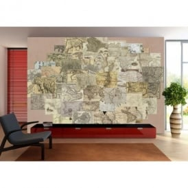 1 Wall Vintage Old Maps 64 Piece Creative Collage Wall Art
