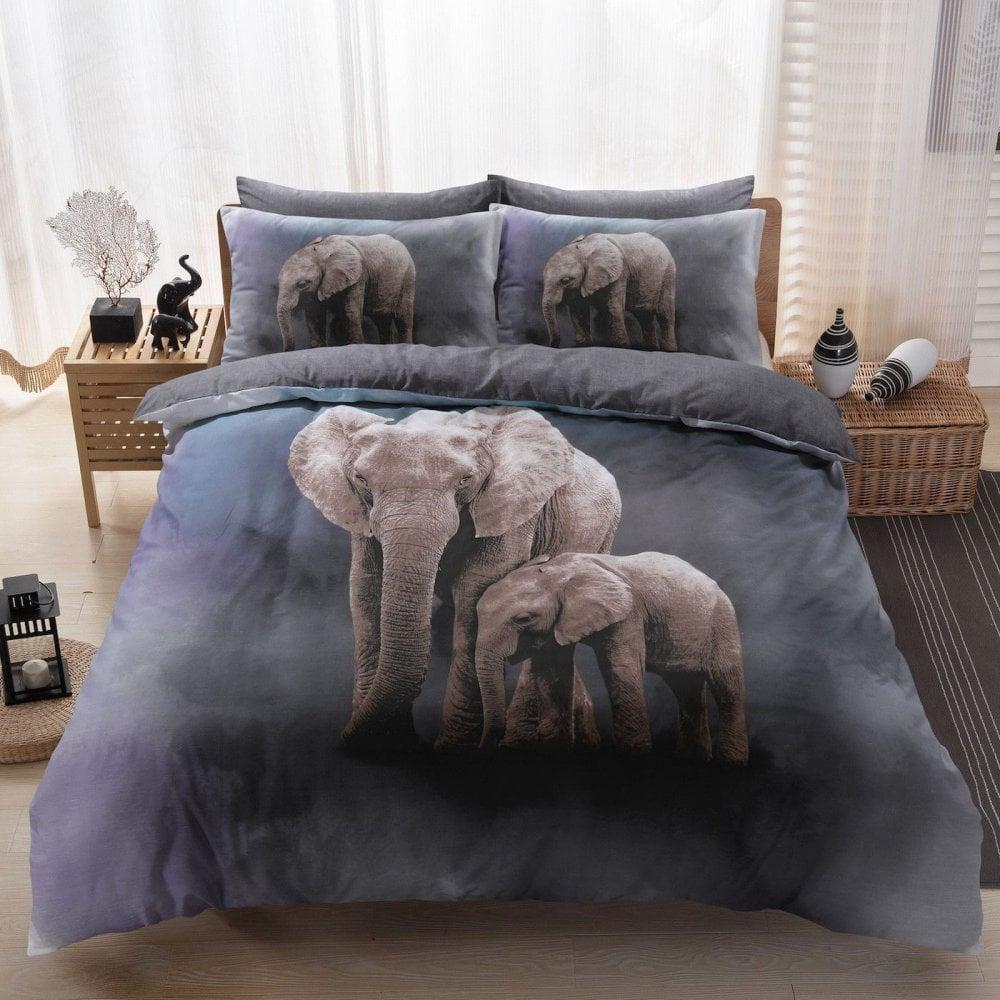 3d Elephant Family Duvet Reversible Bedding Set King 289157