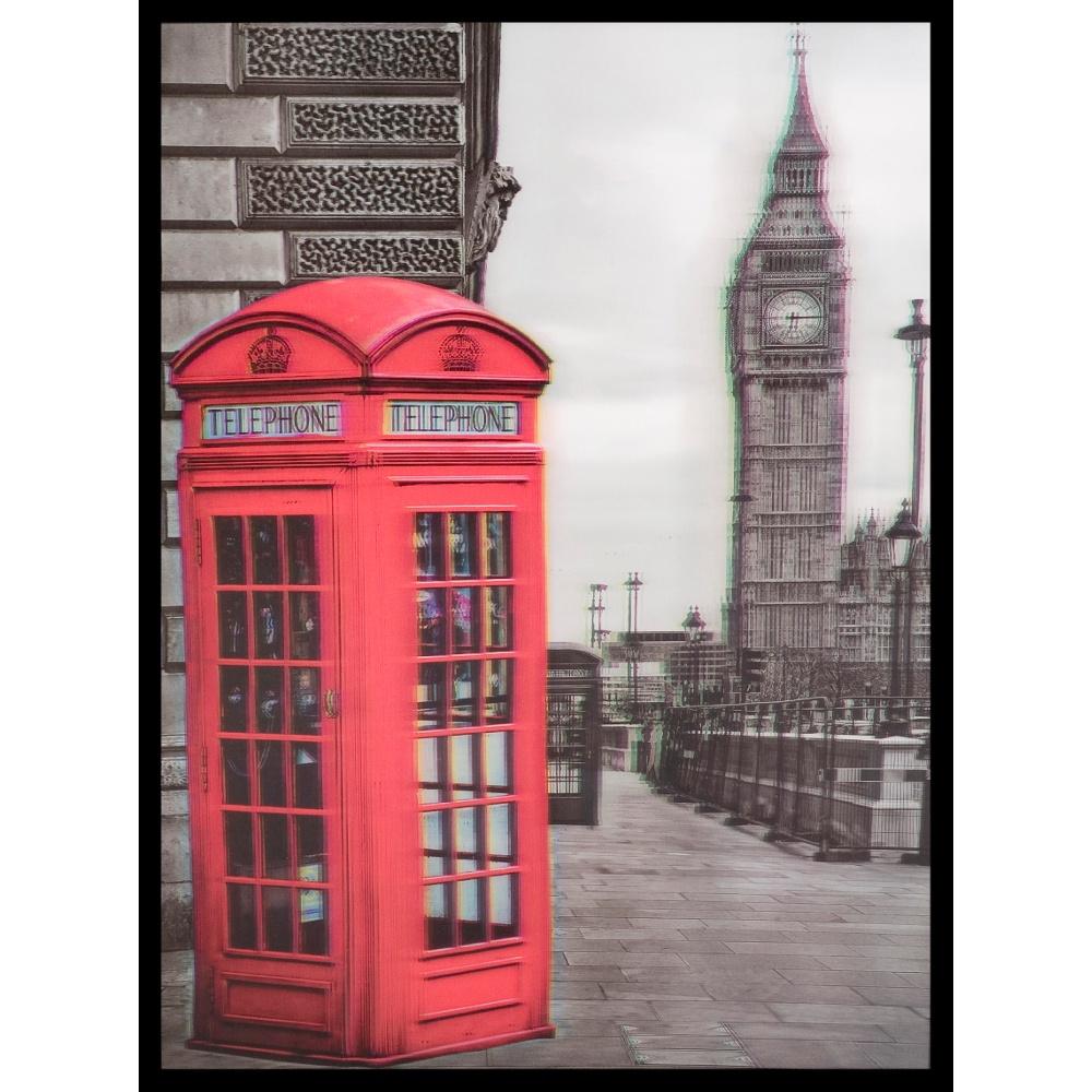 3D Wall Art Big Ben Phone Box Portrait Framed Lenticular Picture 84,2516