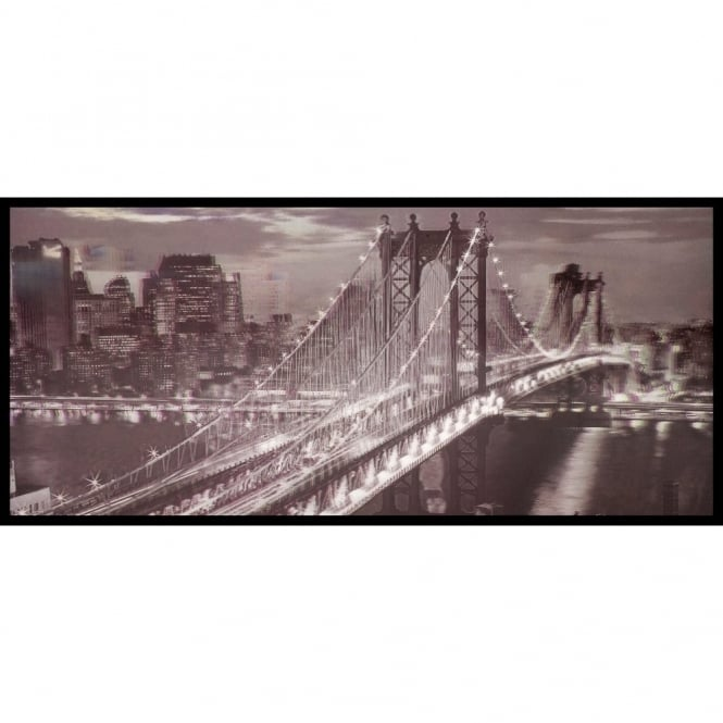 W.A. 3D Wall Art Brooklyn Bridge New York Black White Framed Lenticular Picture 84-2513