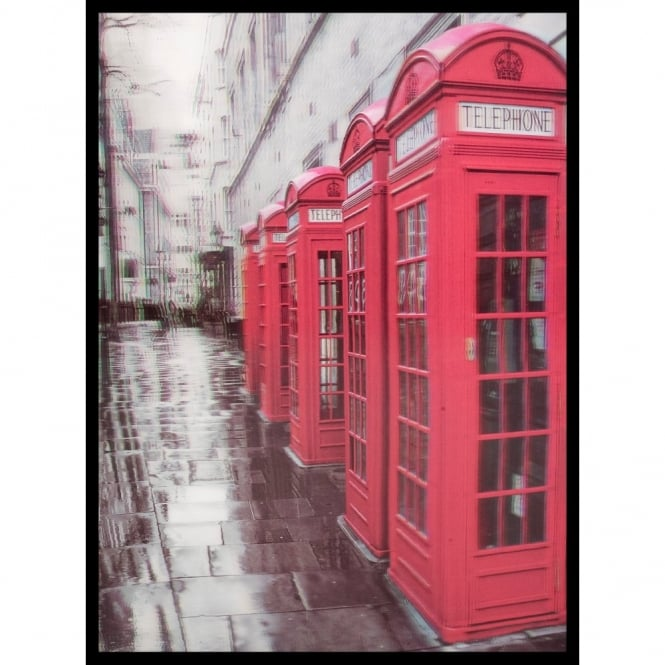W.A. 3D Wall Art Red British Phone Boxes Portrait Framed Lenticular Picture 84-2516