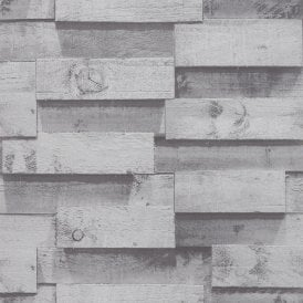 Arthouse 3D Wooden Beam Charcoal Silver Wood Block Wallpaper Exclusive 901607