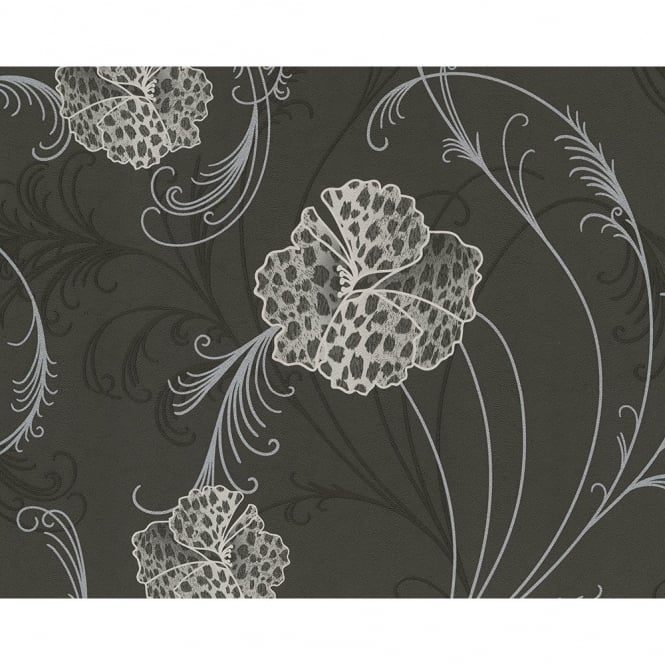 A.S. Creation Chicago Floral Pattern Leopard Flower Motif Textured Vinyl Wallpaper 935311