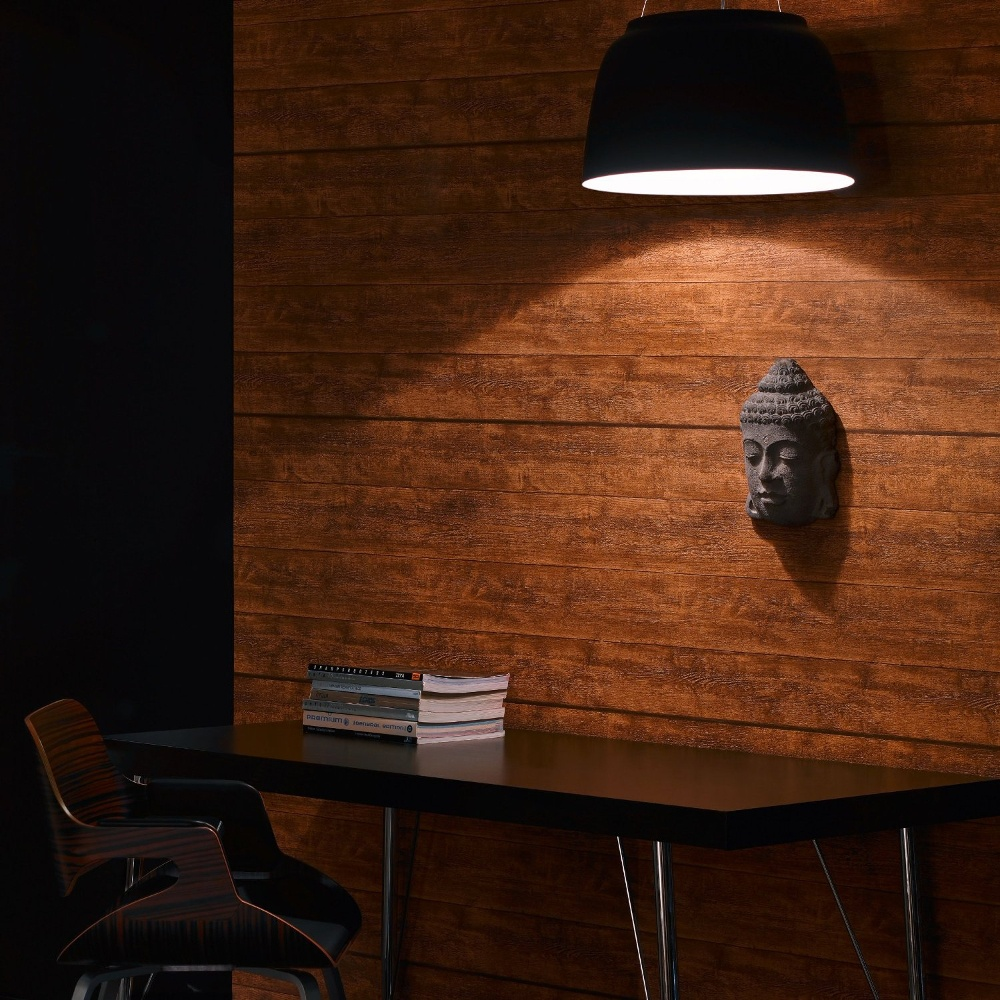 A s creation wood n stone brown wooden panel effect for Papel pintado para madera