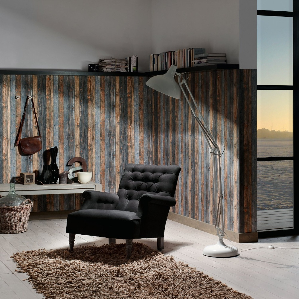 As creation wood stone wooden beam effect textured - Papier vinyl salle de bain ...