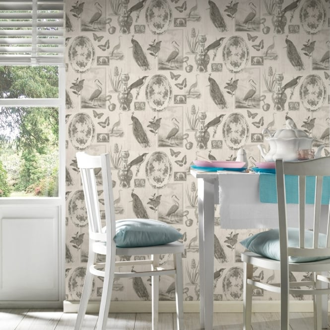 A.S. Creation AS Creation Asian Bird Pattern Wallpaper Butterfly Motif Floral Embossed Vinyl 336342