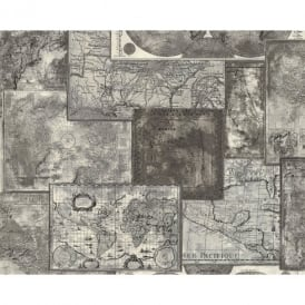 AS Creation Atlas Mosaic Pattern Vintage Map Motif Textured Vinyl Wallpaper 664327