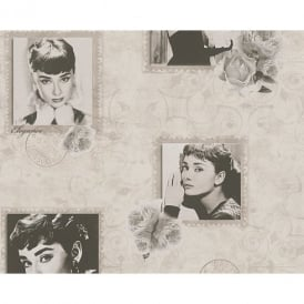 AS Creation Audrey Hepburn Photograph Rose Motif Metallic Textured Wallpaper 958902