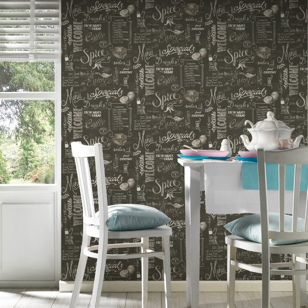 AS Creation Black Chalk Board Pattern Wallpaper Coffee Shop Cafe Restaurant 340722