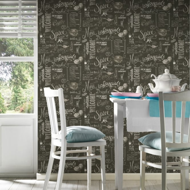 A.S. Creation AS Creation Black Chalk Board Pattern Wallpaper Coffee Shop Café Restaurant 340722