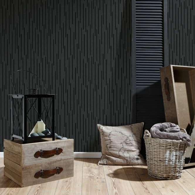 A.S. Creation AS Creation Black Striped Pattern Wallpaper Modern Metallic Embossed 302264