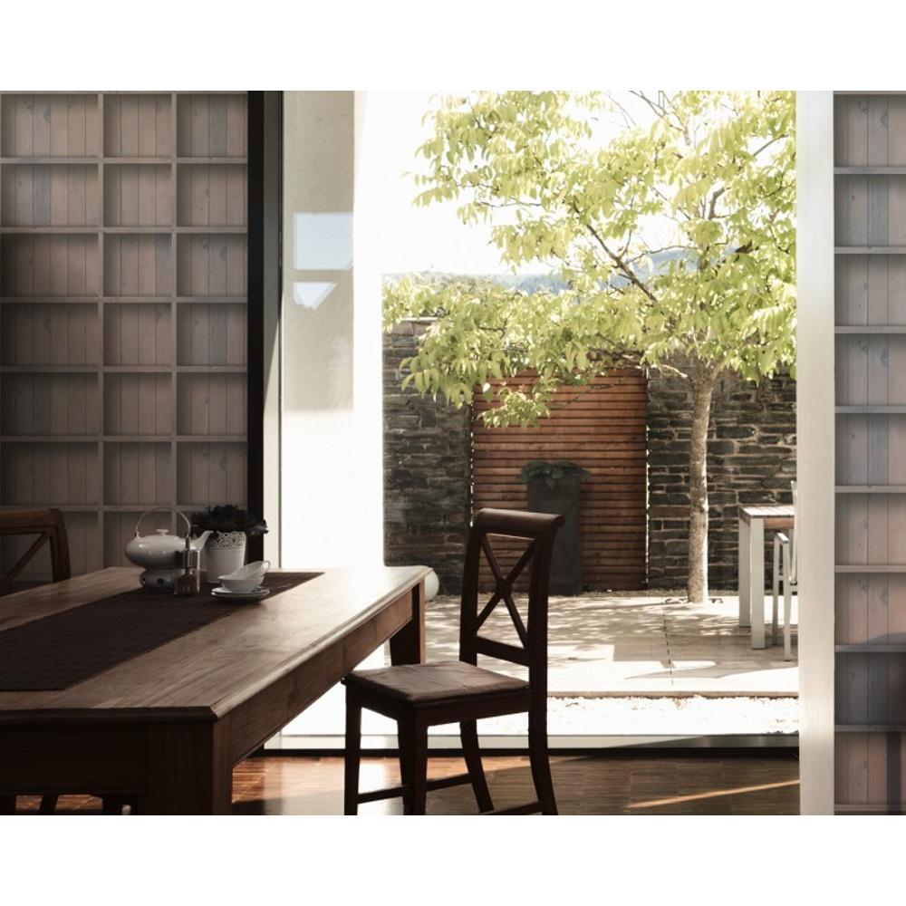 As Creation Book Shelf Pattern Wood Panel Effect Textured Vinyl Wallpaper 959492
