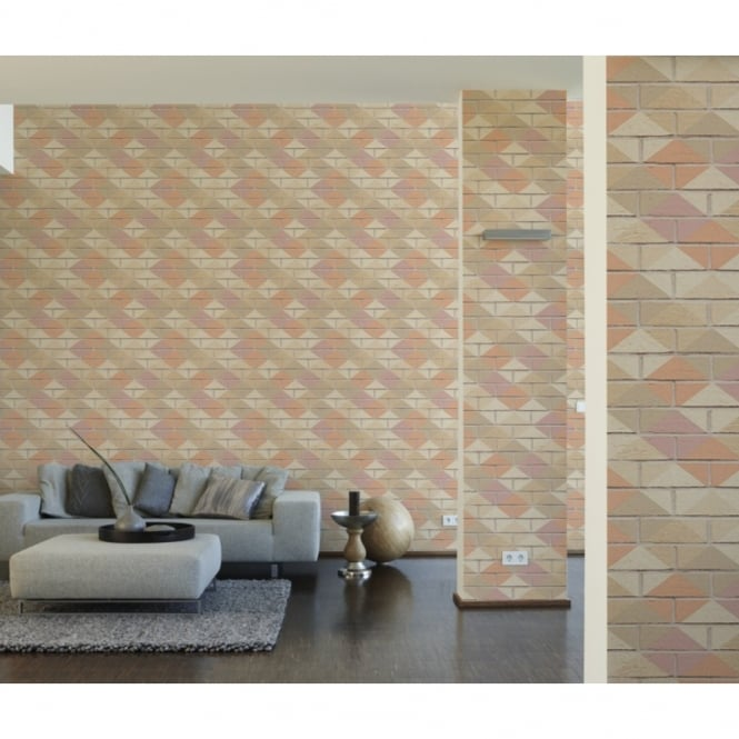 A.S. Creation AS Creation Brick Pattern Wallpaper Kitchen Bathroom Diamond Faux Effect 330883