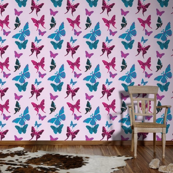 A.S. Creation AS Creation Butterfly Pattern Metallic Urban Striped Childrens Wallpaper 936342
