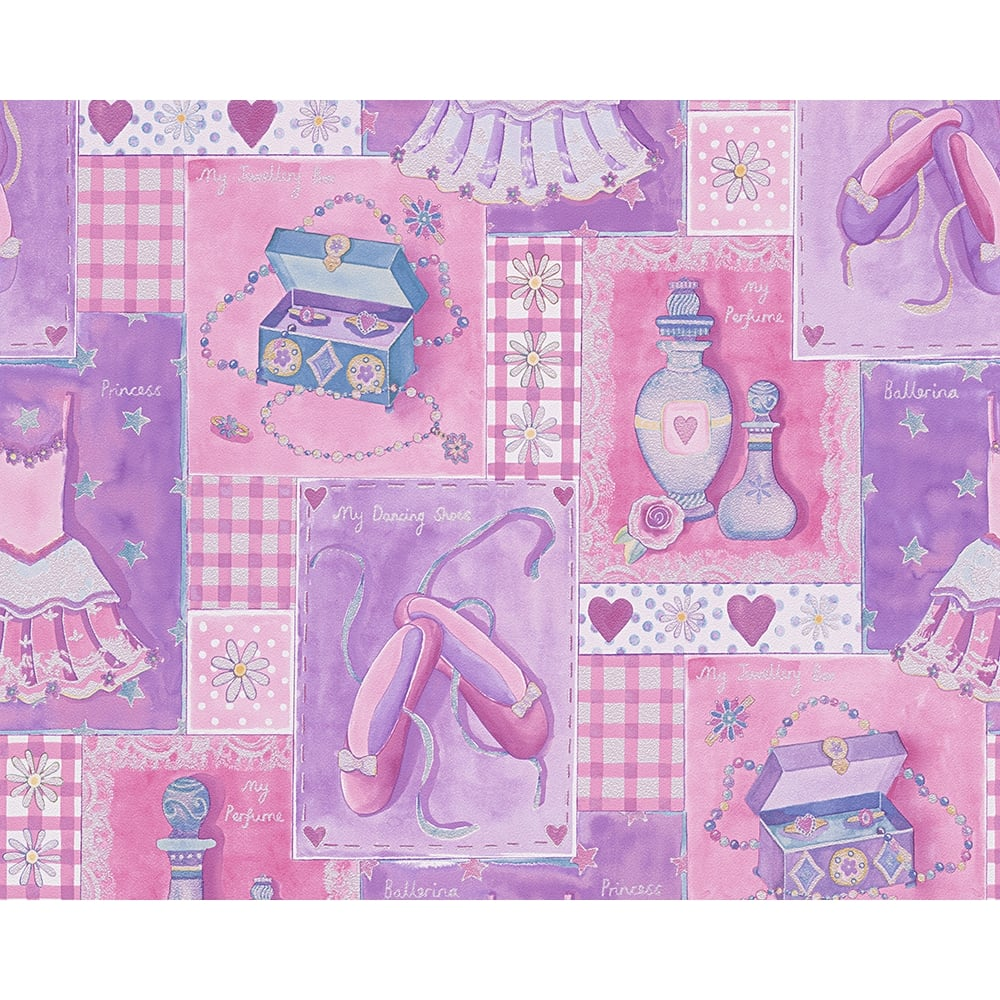 NEW AS CREATION CHECK PATTERN BALLERINA PRINCESS PINK CHILDRENS WALLPAPER 305971