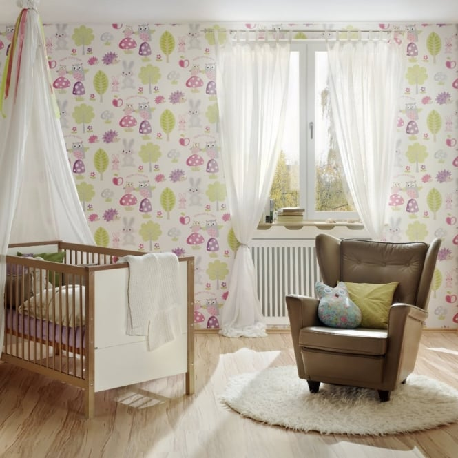 A.S. Creation AS Creation Childrens Wallpaper Hedgehogs Rabbits Owl Forest Pattern 935551