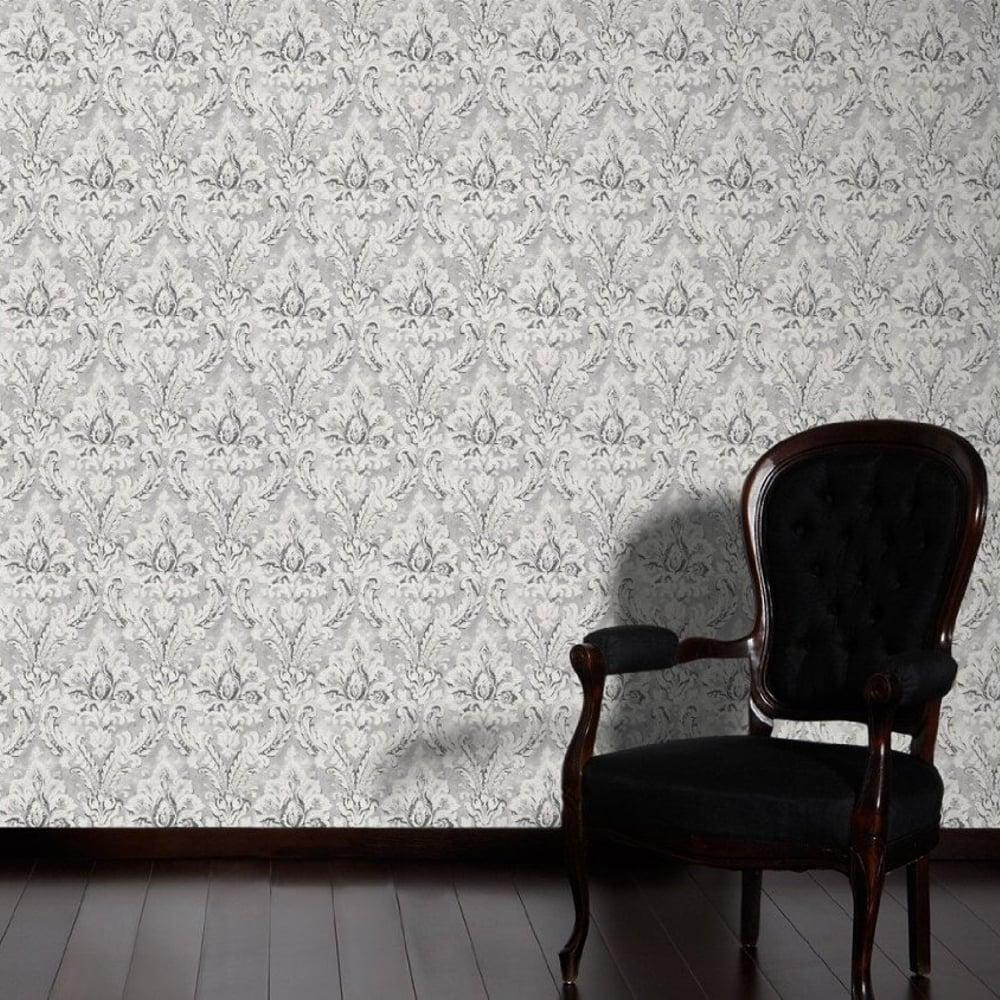 as creation damask pattern paint motif textured vinyl wallpaper 304945. Black Bedroom Furniture Sets. Home Design Ideas