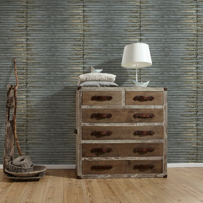 A.S. Creation AS Creation Corrugated Iron Metal Wallpaper Stripe Pattern Realistic Textured 307561