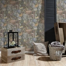 AS Creation Country Cottage Stone Pattern Wallpaper Faux Effect Textured 307241