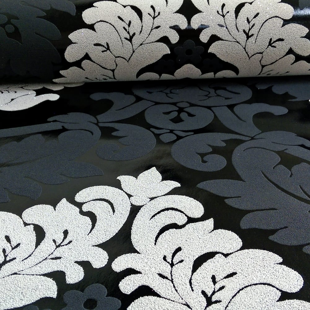As Creation Damask Pattern Wallpaper Floral Leaf Embossed Glitter