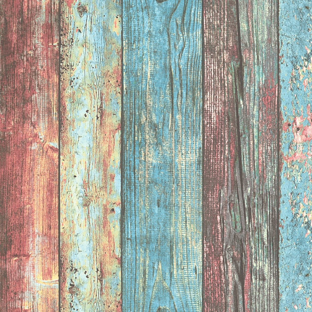 Distressed Wood Beam Pattern Wallpaper