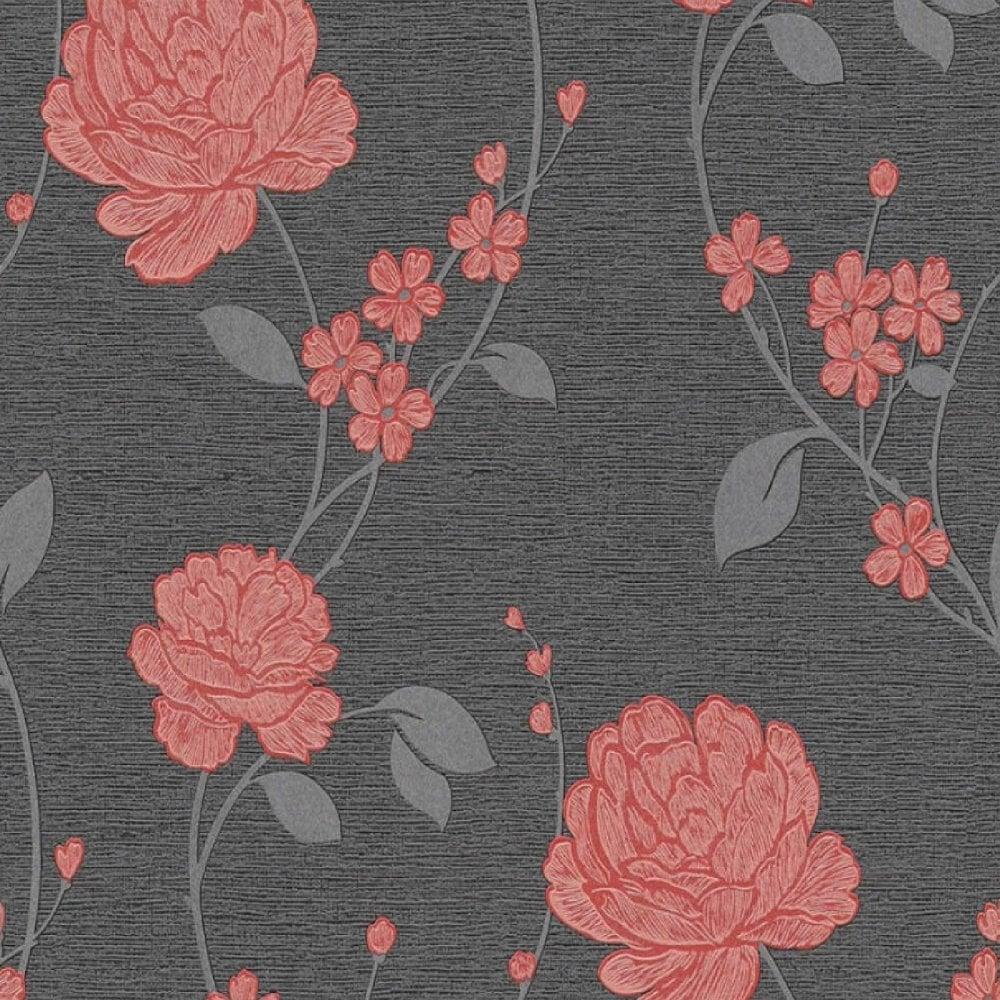 As Creation Floral Leaf Flowers Glitter Wallpaper Vinyl Red Black Grey 36701 3