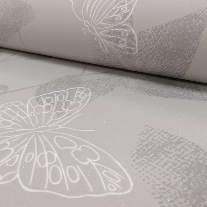 A.S. Creation AS Creation Floral Leaf Pattern Butterfly Motif Glitter Textured Wallpaper 304322