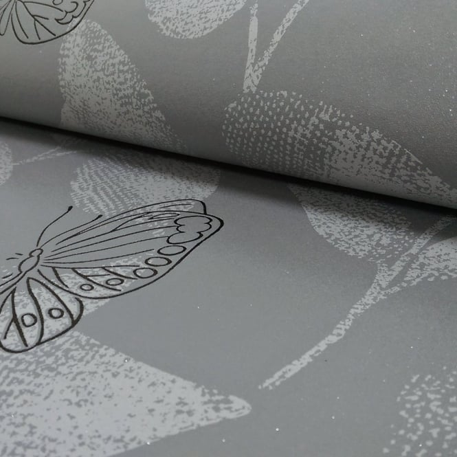 A.S. Creation AS Creation Floral Leaf Pattern Butterfly Motif Glitter Textured Wallpaper 304346