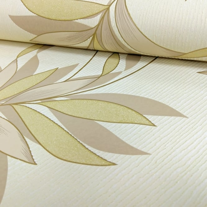 A.S. Creation AS Creation Floral Leaf Pattern Wallpaper Embossed Glitter Stripe Motif 325222