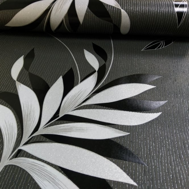 A.S. Creation AS Creation Floral Leaf Pattern Wallpaper Embossed Glitter Stripe Motif 325223