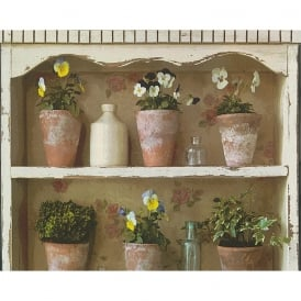 AS Creation Flower Pot Mural Wallpaper Garden Shelf Painted Realistic 306481