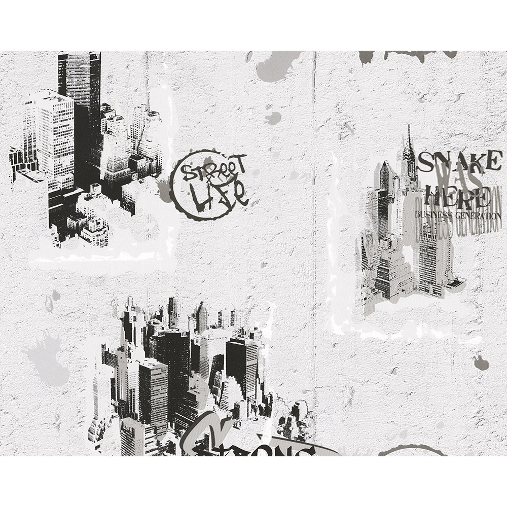 AS Creation Graffiti Pattern NYC Painted Teenager Childrens Wallpaper 684011