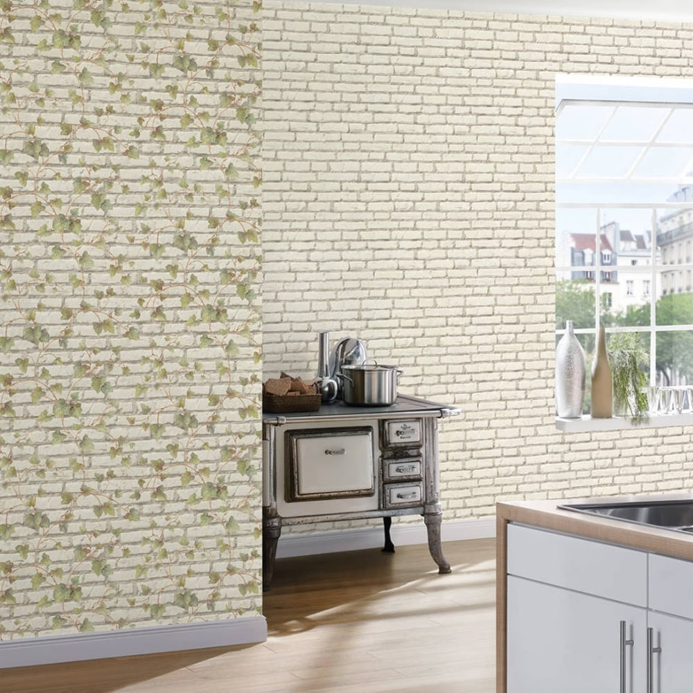As creation ivy leaf pattern wallpaper faux brick effect realistic embossed 319421