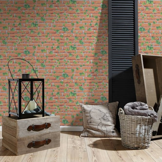 A.S. Creation AS Creation Ivy Leaf Pattern Wallpaper Faux Brick Effect Realistic Embossed 319422