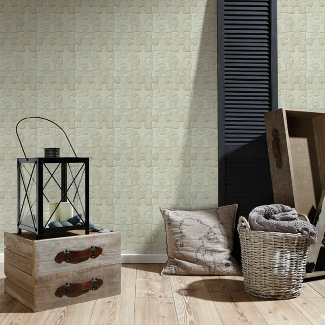 A.S. Creation AS Creation Jigsaw Pattern Wallpaper Metal Motif Faux Effect Puzzle Textured 327033