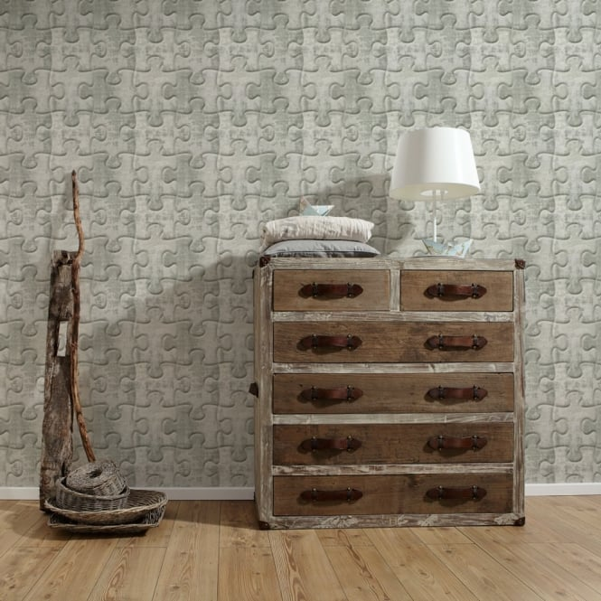A.S. Creation AS Creation Jigsaw Pattern Wallpaper Metal Motif Faux Effect Puzzle Textured 327034