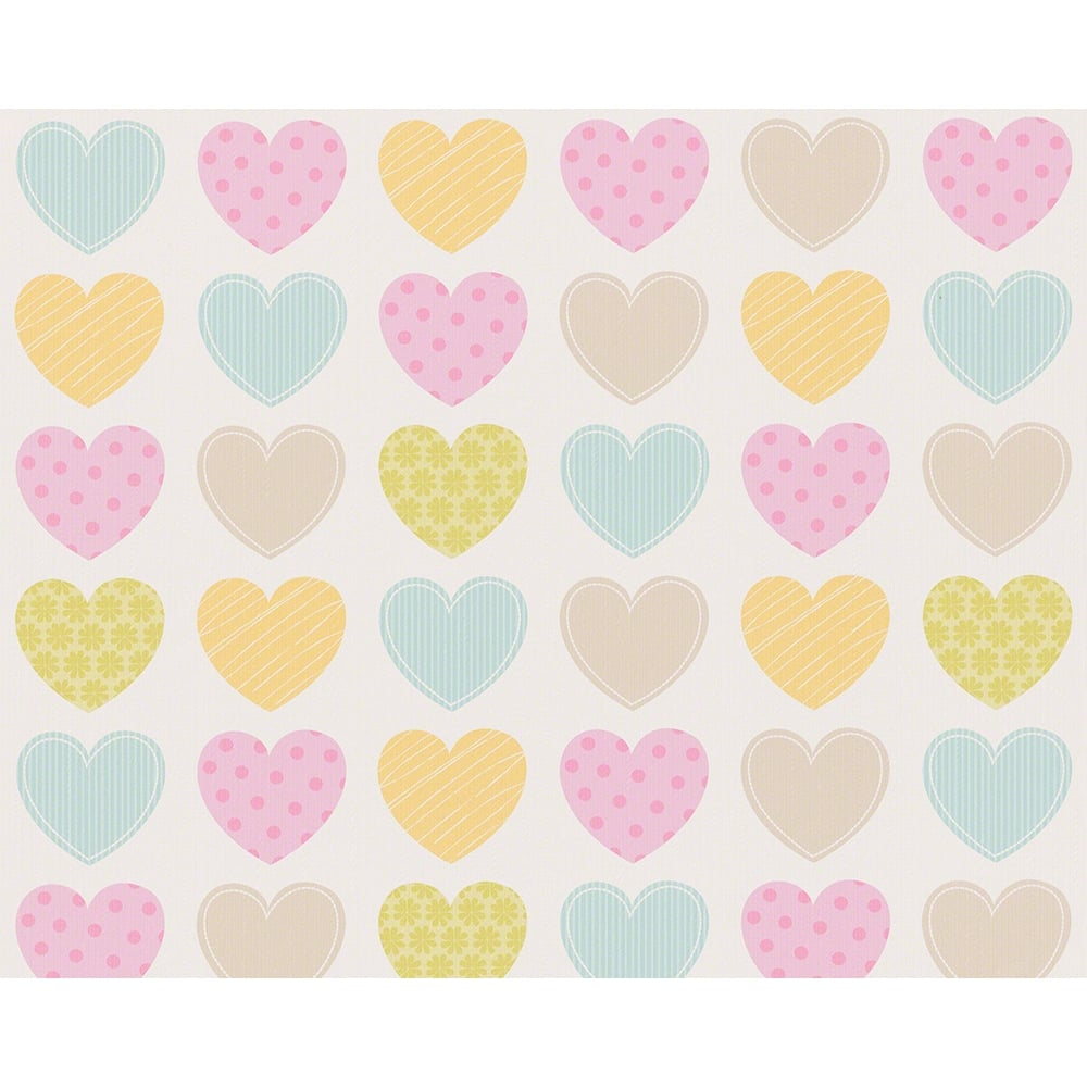 AS Creation Love Heart Pattern Stripe Polka Dot Motif Childrens ...