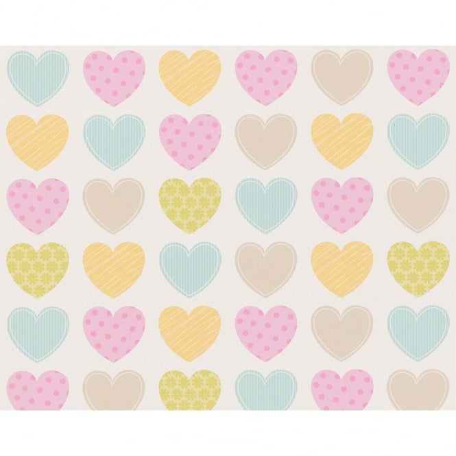 A.S. Creation AS Creation Love Heart Pattern Stripe Polka Dot Motif Childrens Wallpaper 935662