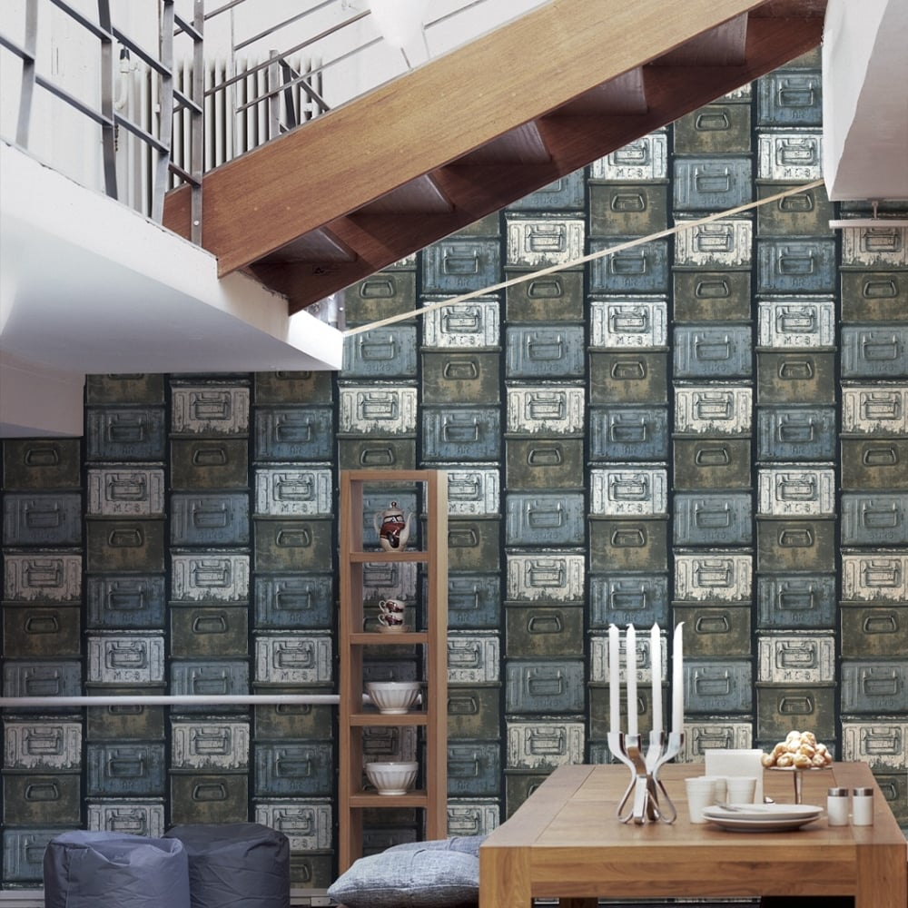as creation metal box mural pattern wallpaper vintage realistic textured 306751 blue black i. Black Bedroom Furniture Sets. Home Design Ideas