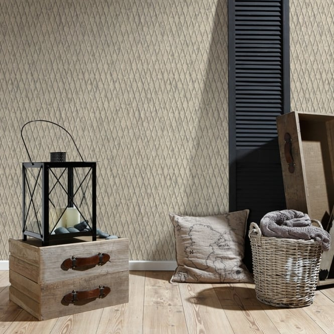 A.S. Creation AS Creation Metal Pattern Wallpaper Faux Effect Diamond Motif Embossed Vinyl 335482