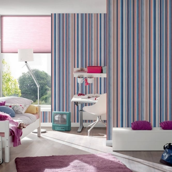 A.S. Creation AS Creation Oilily Stripe Pattern Fabric Textured Embossed Wallpaper 961281