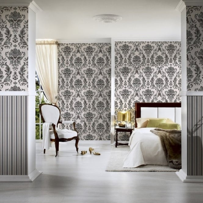A.S. Creation AS Creation Ornate Floral Damask Pattern Wallpaper Textured Metallic 301901