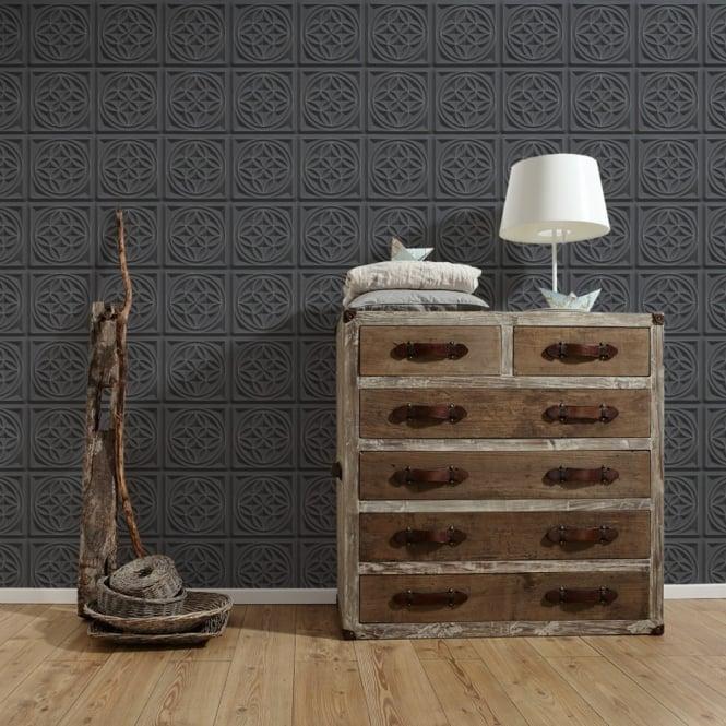 AS Creation Oslo Tile Pattern Wallpaper Faux Effect Art Deco Kitchen Bathroom 329801 - Black