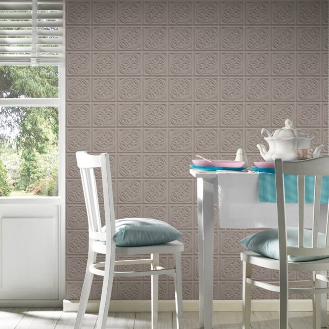 A.S. Creation AS Creation Oslo Tile Pattern Wallpaper Faux Effect Art Deco Kitchen Bathroom 329803