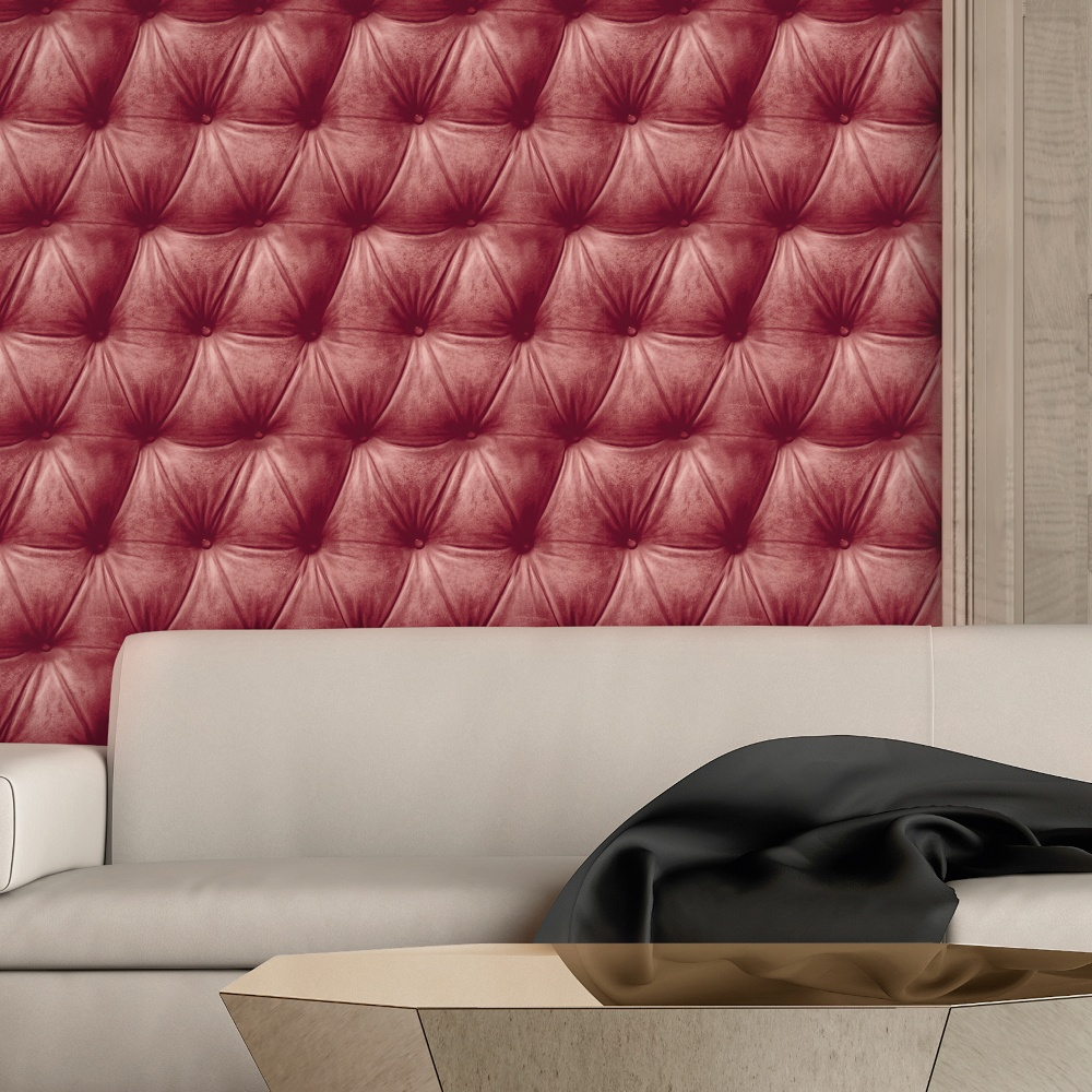 As creation padded leather pattern faux effect realistic for Padded wall wallpaper