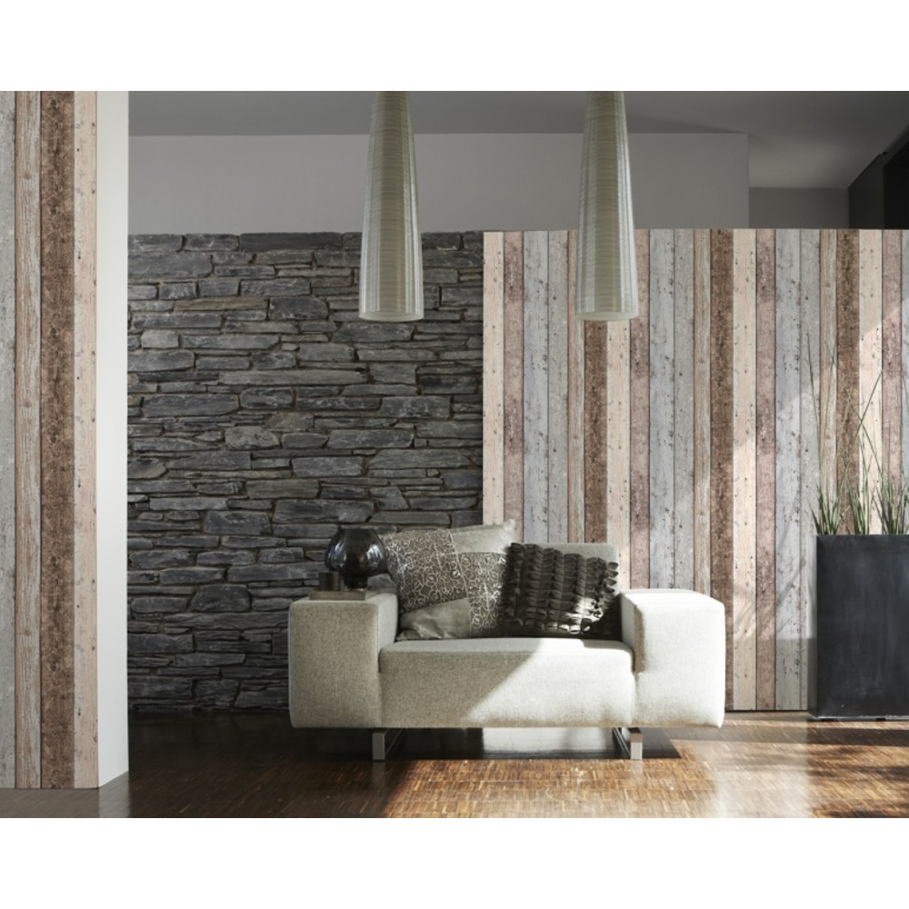 A S Creation As Creation Painted Wood Beam Wooden Panel Faux Effect Textured Wallpaper 855039