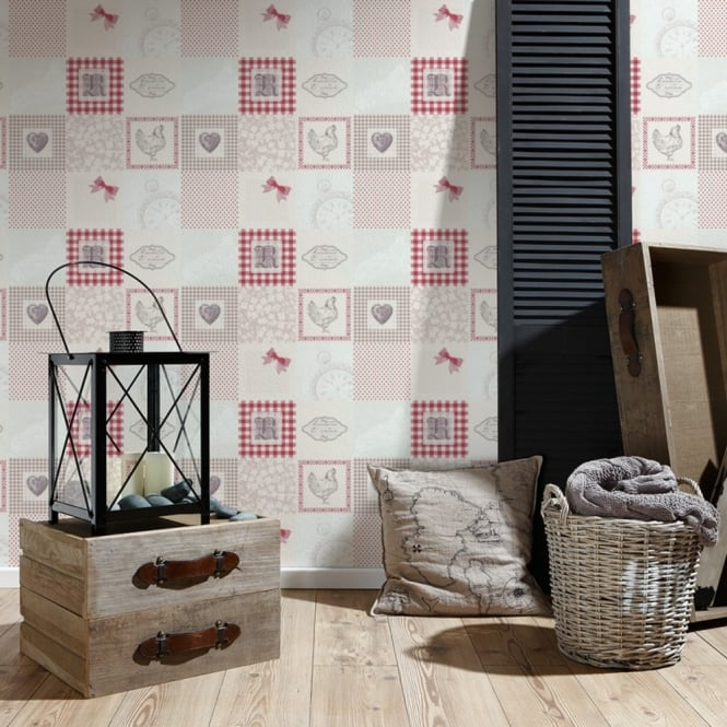 A.S. Creation AS Creation Patchwork Pattern Wallpaper Kitchen Tartan Polka Dot Chicken 327321