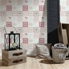 AS Creation Patchwork Pattern Wallpaper Kitchen Tartan Polka Dot Chicken 327321